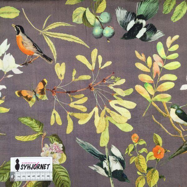 Viskose vævet med hørlook og lidt polyamid, grå med grene og fugle