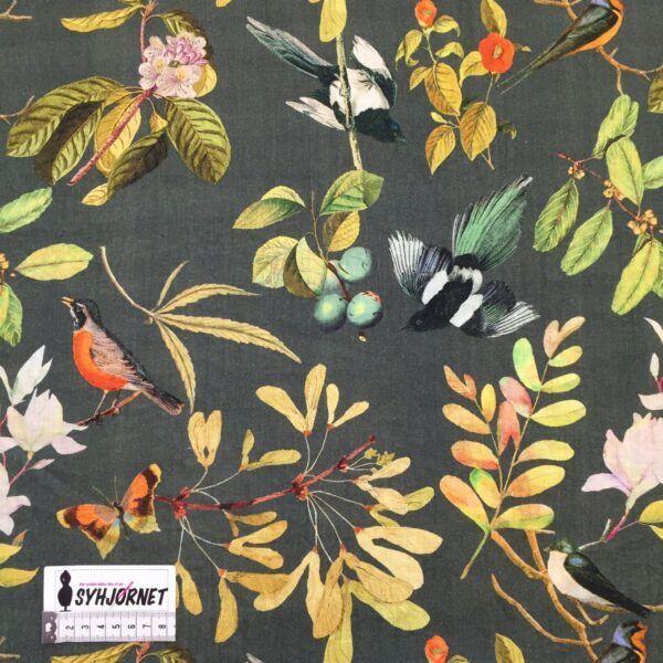 Viskose vævet med hørlook og lidt polyamid, grøn med grene og fugle