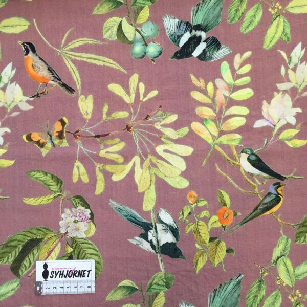 Viskose vævet med hørlook og lidt polyamid, rosa med grene og fugle