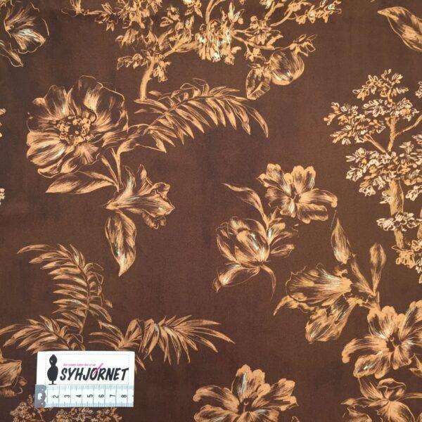 Viskose vævet brun bund med gyldne blomster fra Italiensk modehus