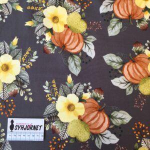 Bomuldsjersey koksgrå bund med græskar og blomster økotex 100