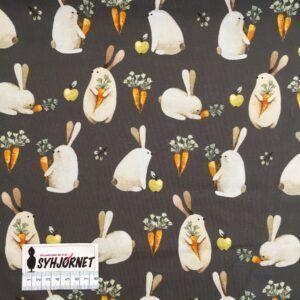 Bomuldsjersey med kaniner og gulerødder økotex 100