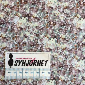 Bomuld vævet tynd og fin med små blomster i jordfarver økotex 100