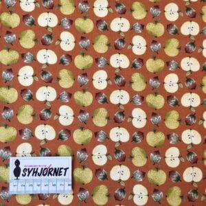 bomuldsjersey i brændt orange med æbler og agerne økotex 100