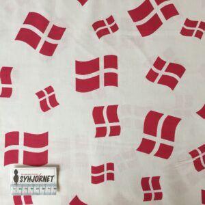 Bomuld vævet med flag på hvid baggrund, økotex 100
