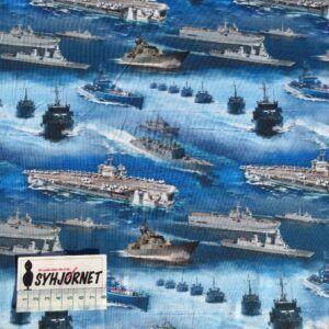 Bomuldsjersey Krigsskibe økotex 100