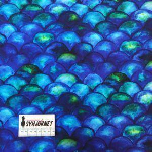 Bomuldsjersey med blå og grønne buer økotex 100
