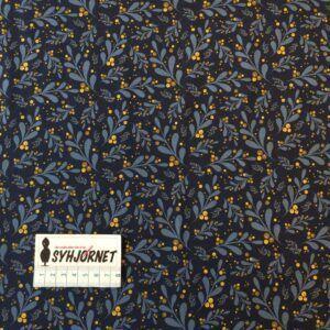Bomuldsjersey marine blå med blade og karry bær økotex 100