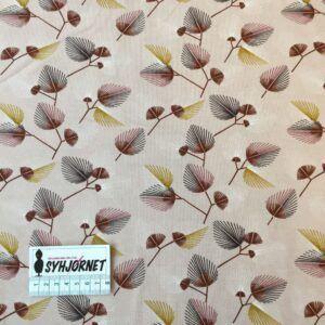 Bomuldsjersey rosa med brune grene økotex 100