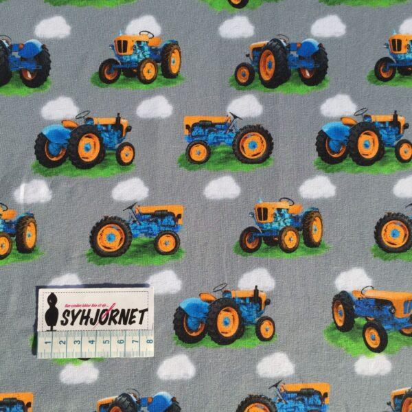 Bomuldsjersey med orange og blå traktor Gots