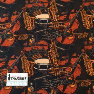 Bomuldsjersey sort med musikinstrumenter økotex 100