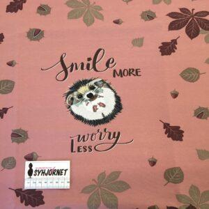 Bomuldsjersey, rapport med et pindsvin i rosa farver