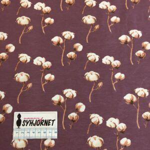 Bomuldsjersey Støvet lilla med bomuldsblomster økotex 100