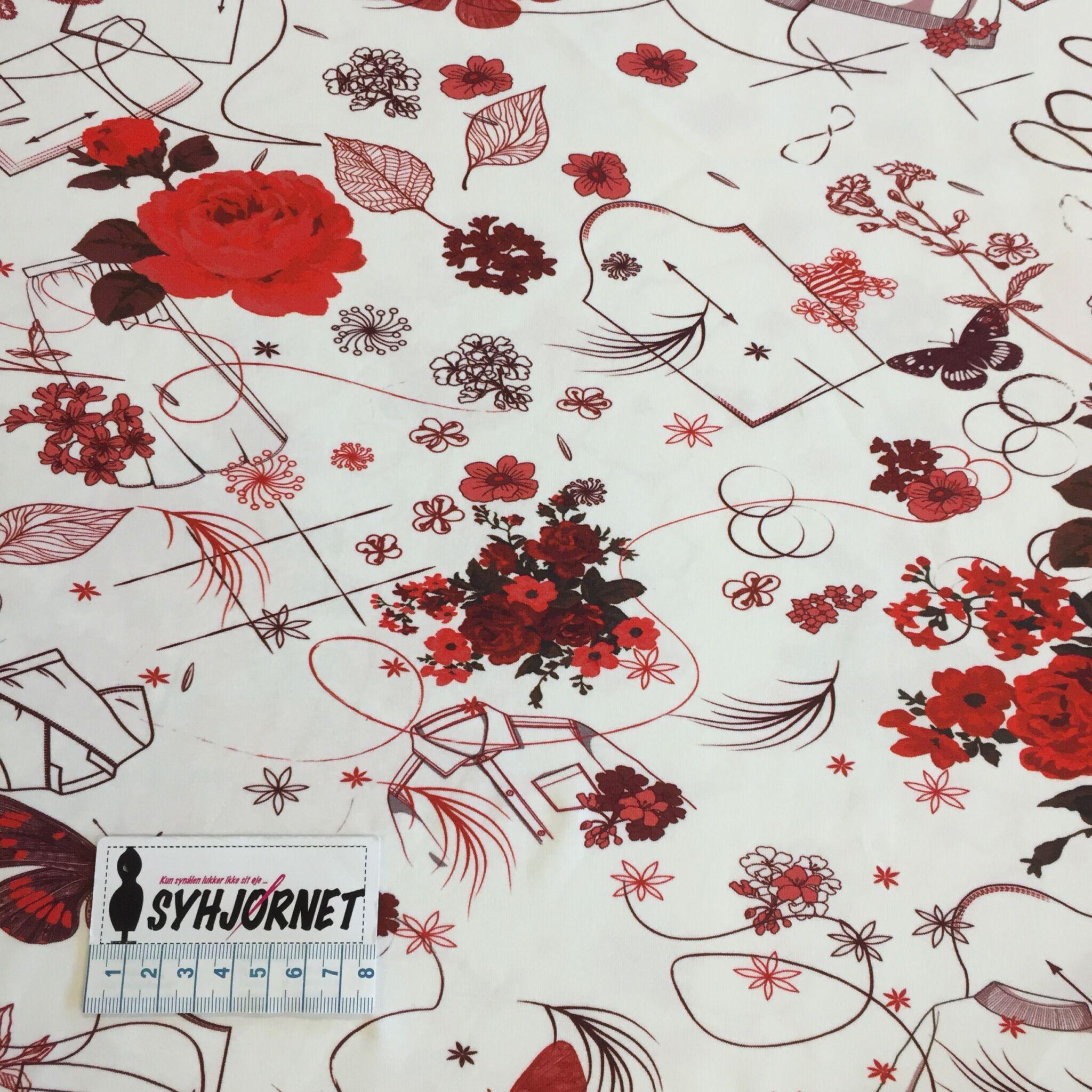 Bomuldsjersey med roser og stregninger økotex100