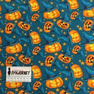 Bomuldsjersey petrolium med græskar Halloween økotex 100