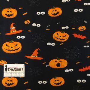 Bomuldsjersey sort med halloween økotex 100