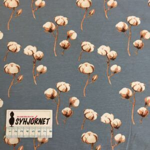 Bomuldsjerseys i støvet blå med bomuldsblomster økotex 100