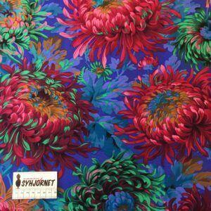 Kaffe Fassett vævet bomuld blå med farverige blomster økotex 100