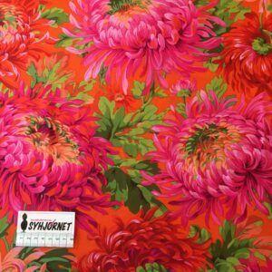 Kaffe Fassett vævet bomuld med smukke blomster i pink, røde og orange toner økotex 100