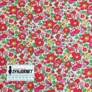 Liberty lys bund med rødlige og rosa flotte blomster, økotex 100