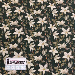 Liberty mørk flaskegrøn med smukke blomsterranker, økotex 100