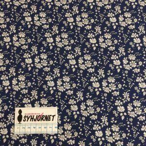 Liberty mørkeblå bund med små lyse blomster, økotex 100