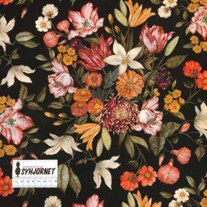 Liberty mørkebrun bund med smukke blomsterbuketter i brændte farver, økotex 100